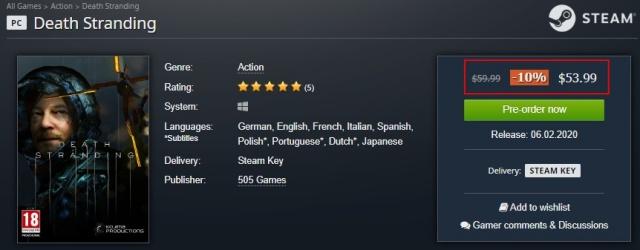 PC版デス・ストランディングが安い海外ゲームキー販売サイト比較Gamesplanet