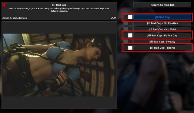【RE:3】ジルをバッドコップへ変更するMod(ヌード、手錠)Mod反映方法