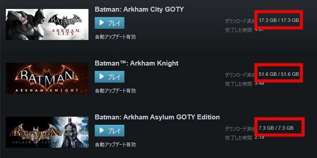 Batman Arkham Bundleのゲーム容量